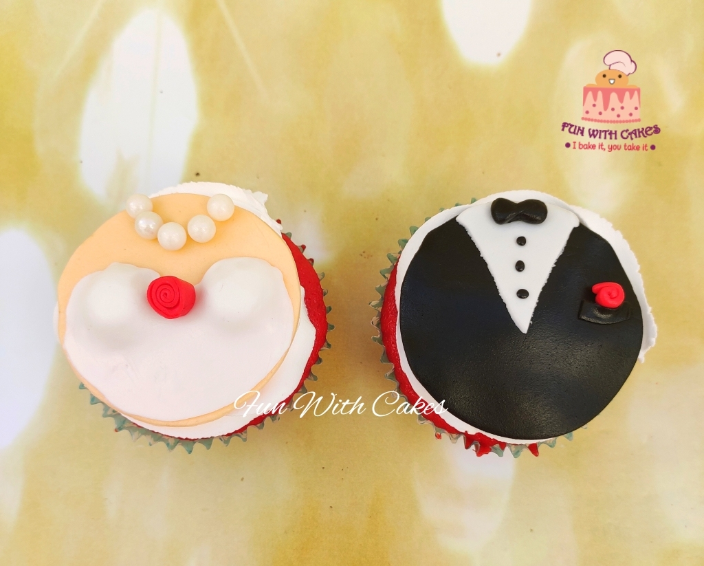 Bride and Groom Themed Cupcakes Designs, Images, Price Near Me