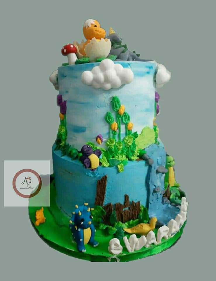 2 Tier Dinosaur Cake Designs, Images, Price Near Me