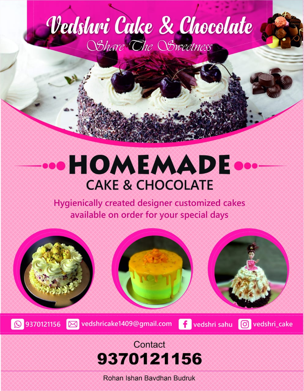 Vedshri cake and chocolate