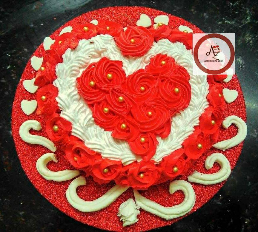 Heart Shape Red Velvet Cake Designs, Images, Price Near Me