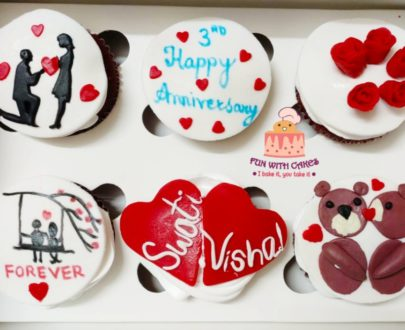 Anniversary Themed Cupcakes(Pack of 6) Designs, Images, Price Near Me