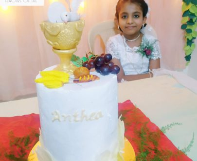 Double Barrel Holy Communion Cake Designs, Images, Price Near Me
