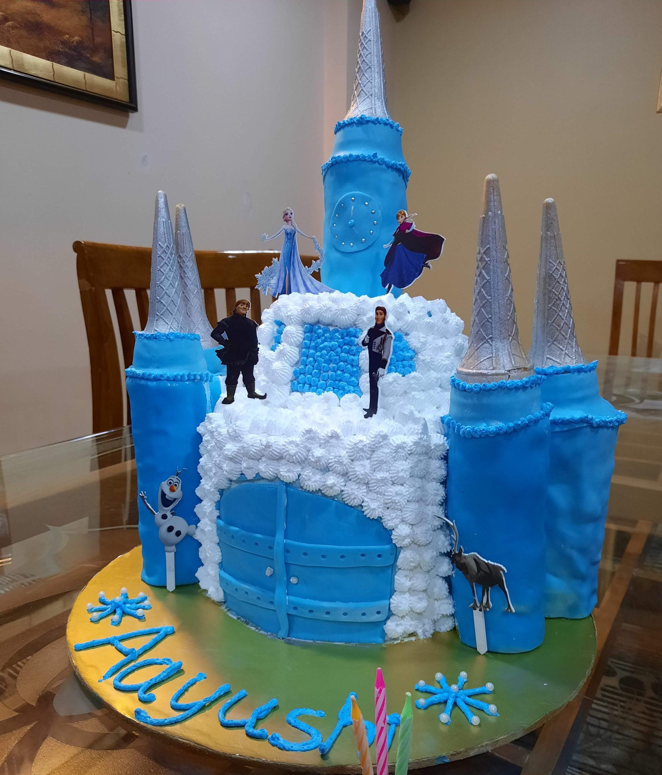 Frozen Castle Themes Cake Blueberry Flavour Designs, Images, Price Near Me
