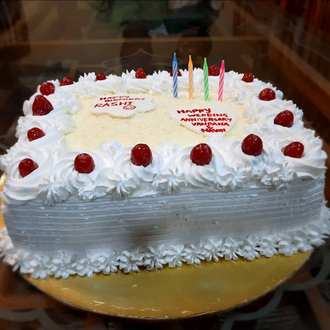 White Forest Cake with charry &strawberry crush filling Designs, Images, Price Near Me