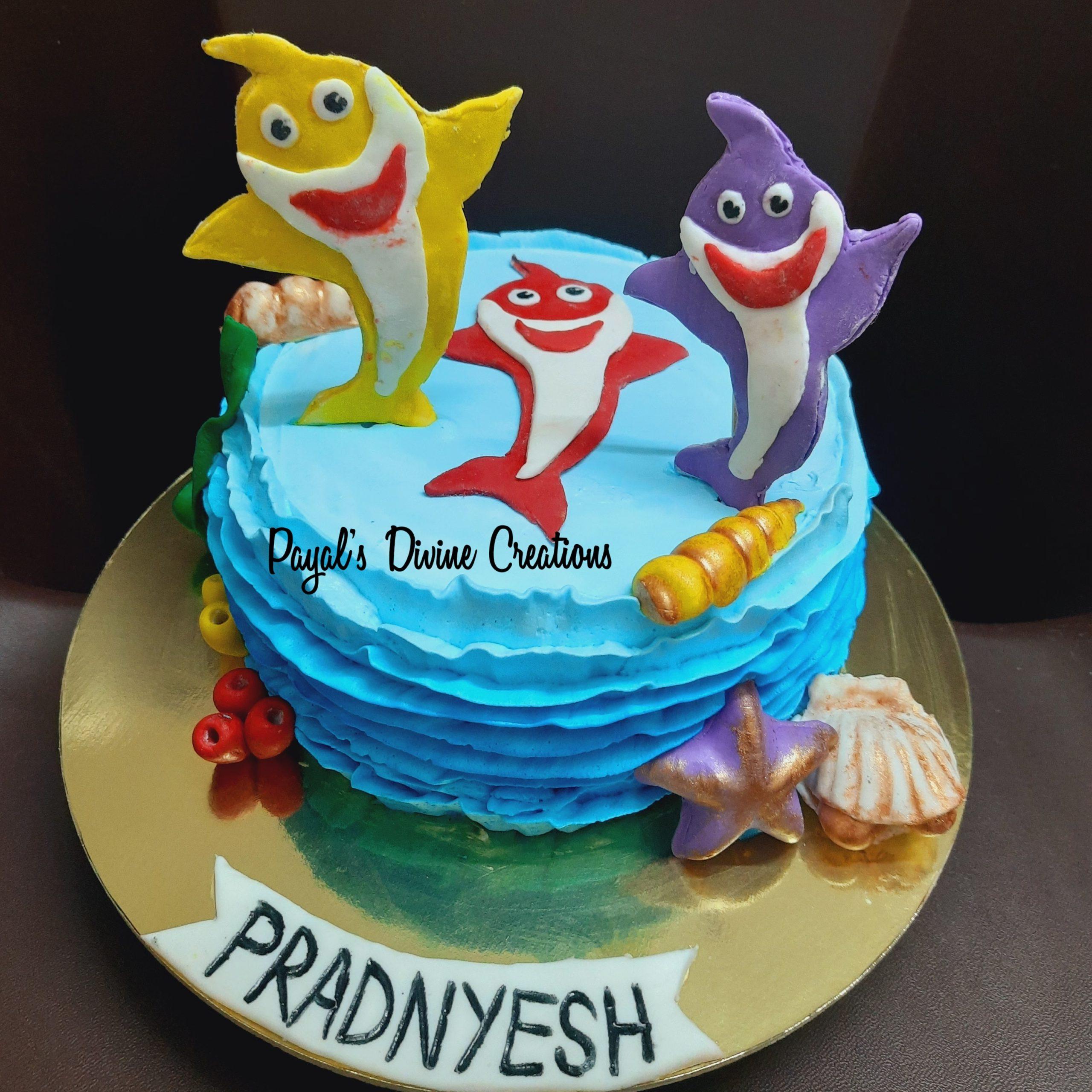 Baby Shark theme Rasmalai cake Designs, Images, Price Near Me