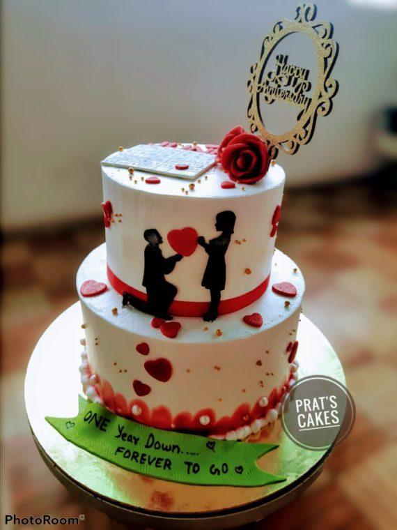 2 Tier Anniversary Theme Cake Designs, Images, Price Near Me