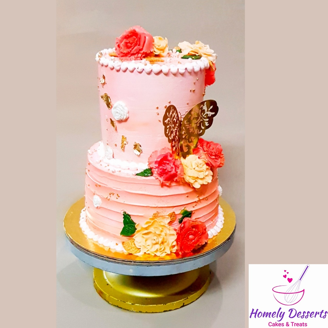 Engagement Cake with flowers matching to outfits Designs, Images, Price Near Me