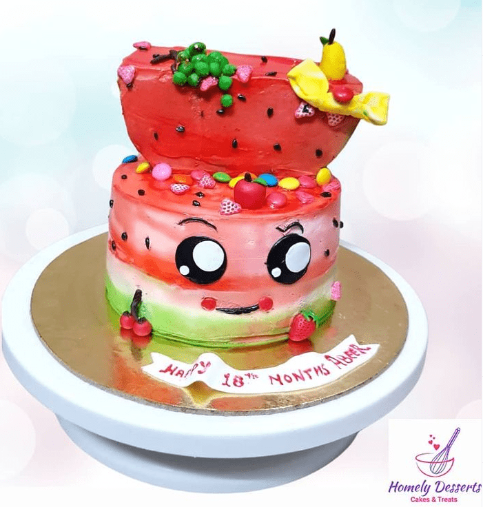 Watermelon look kids theme cake for 18th month birthday Designs, Images, Price Near Me
